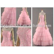 Vestido de boda bordado rosa del arco, vestido nupcial MR-2-0075