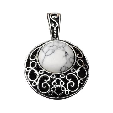 Howlite 20MM Cabochon Alloy Gemstone Pendant