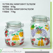 Alta qualidade mão pintada vidro armazenamento jarro com tampa de vidro Clip Canister atacado