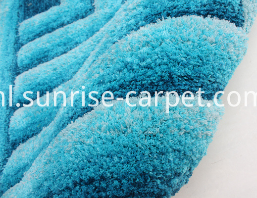 Microfiber Shaggy Rug with 3D Design in Blue Color
