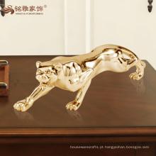 estátua de leopardo animal e poliresina de prata e ouro revestida a ouro para decoração de casa