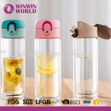 Botella de agua de vidrio del borosilicato de la moda a prueba de calor 280ml