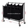 4 To3Bag Rolling Laundry Sorter Cart Heavy Duty Sorting Hamper With Removable Bags and Brake Casters