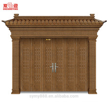 highly quality steel protection door entrance uesd tree bark pattern grill design with high grade door handle