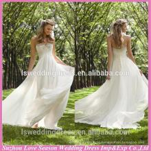 WD1183 frete grátis feito na China empire cintura corset volta A linha de cristais frisados sweetheart baixo vestido de noiva com chiffon
