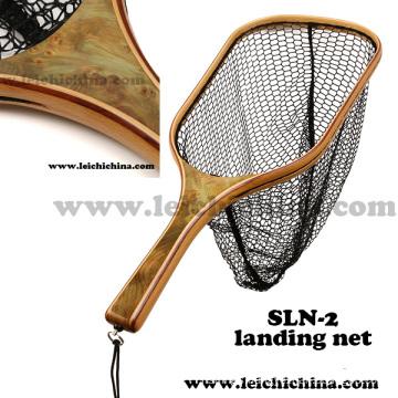 Popular Burl Wood Handle Fly Fishing Trout Net Sln-2