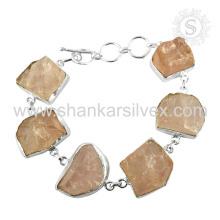 Stunning Rose Quartz Gemstone Bracelet 925 Sterling Silver Jewelry Jaipur Handmade Online Jóias