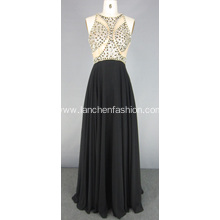 Gorgeous Crystal Illusion Bodice Chiffon Prom Dress