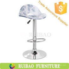 Mobiliário Exportar Acrílico Chromed Metal Base Adjustable Bar Stool Chair Para KTV / Pub / Party