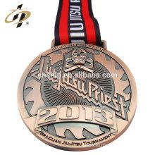 Medalla de bronce hecha a medida del medallón de Jujitsu del metal de la aleación del cinc de encargo antiguo