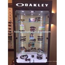 Optical tienda de muebles independientes Top Led iluminación puerta de vidrio Eyewear Retail Display Cabinet