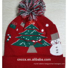 16ZQ603 Christmas Tree knit LED christmas beanie