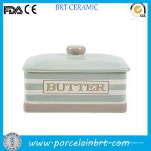 Nuevo plato de mantequilla de cerámica del producto con la tapa