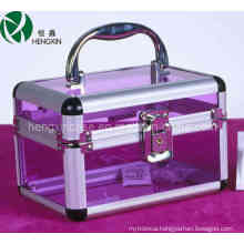Purple Acrylic Train Cosmetic Flight Case (HX-Y009B)