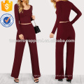 Fitted Crop Tee & Pants Manufacture Wholesale Fashion Women Apparel (TA4039SS)