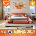 SUMENG Ensemble de lit en cuir orange et blanc avec lumière LED