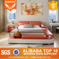 SUMENG Orange and white leather bed set with LED Light