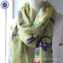 2014 New Design Mongolia Culture Genghis khan Printing 100% Cashmere Stole Scarf SWC791