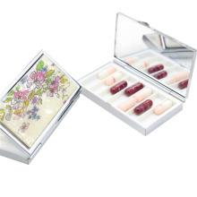 Boîte de rangement de pilules fabriquée en métal avec 6 boîtiers