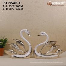 Décoration de mariage en morceaux d'animaux sculpture en résine statues de cygne pour décoration de maison