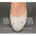 High Quality Pointed Toes Lace Pearls Women Wedding Shoes With Ribbons Lace Up Ladies Party/Dress Shoes Size EU35-42 WS01