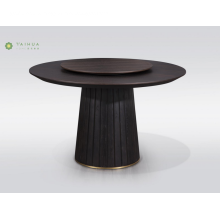 Round Solid Wood Dining Table With Metal Bottom