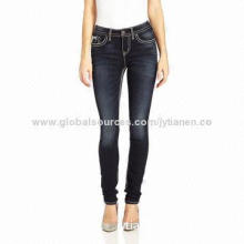 Flap Skinny Jeans, 80% Cotton/19% Polyester/1% Elastane/Factory Price/OEM and ODM Orders are Welcome
