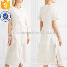 Con volantes de algodón blanco de manga corta Midi Summer Dress Fabricación venta al por mayor de prendas de vestir de mujeres (TA0261D)