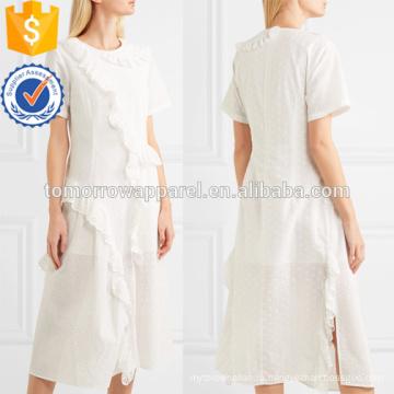 Оборками Белый хлопок с коротким рукавом Миди летнее платье Производство Оптовая продажа женской одежды (TA0261D)