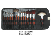16pcs wood handle goat hair makeup brush with black case
