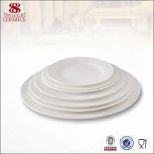 Porcelana de cerámica plato de porcelana hueso placa de microondas blanco