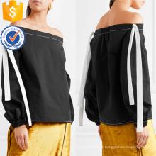 Venda quente Off-The-Shoulder manga comprida de algodão Top de Verão Fabricação Atacado Moda Feminina Vestuário (TA0075T)
