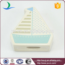 two thread hole ceramic sailboat hanging