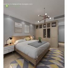 Современная мебель Меламиновая спальня с деревянным изголовьем