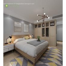Chambre à coucher moderne en mélamine avec tête de lit en bois