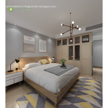 Modern Furniture Melamine Bedroom With Wooden Headboard