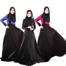 Doux qualité polyesterdubai femmes robe noire à manches longues dentelle abaya islamique vêtements