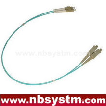 10Gb Corning Fiber Optic Cable, LC-ST, Multi Mode, Duplex (50/125 Type) Aqua