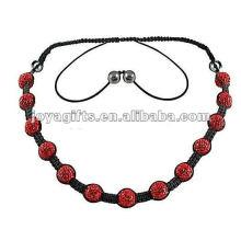 Красный цвет 13PCS хрустальные шамбалы ожерелье