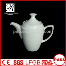 P&T porcelain factory wholesale pots, white coffee pot, line shape pot