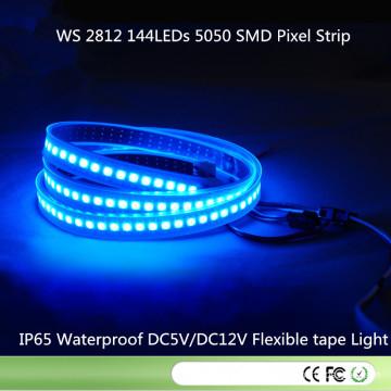 Ws2812 LED Faixa digital 144LEDs / M 144pixels / M, 2m / rolo, PCB preto, tubo de silicone à prova d'água IP67, entrada DC5V