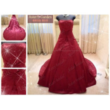Благородный высокое качество сшитое платье красные свадебные