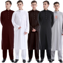 Vente chaude nouveau modèle abaya en kimono de couleur pure de dubaï ensemble hommes saoudienne abaya