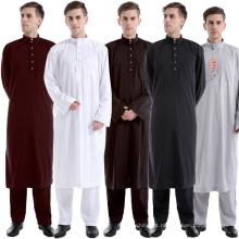Venda quente novo modelo abaya em dubai pure color kimono set homens saudita abaya