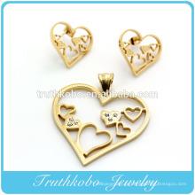 Corte a laser de alta qualidade em aço inoxidável coração forma brinco e pingente conjunto de jóias de cristal configuração para chapeamento de ouro