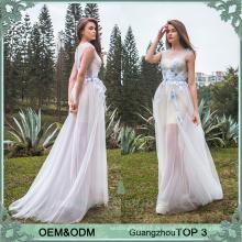 Vestido casual projeta vestido de noite longo duas peças vestidos de festa vestido de noite vestido de rede para senhoras