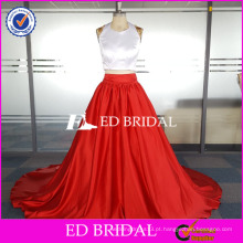ED Bridal Custom Made Two Piece sem mangas Halter Pavimento Comprimento Satin Party Dress