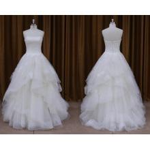 Vestido de novia con cuentas de organza sin tirantes