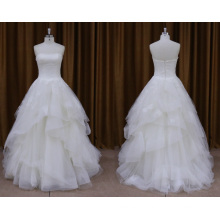 Без Бретелек Органзы Бисером Свадебное Платье