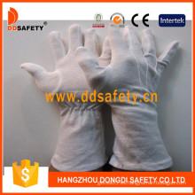 Guante de algodón blanco con manguito largo (DCH247)